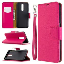 Classic Luxury Litchi Leather Phone Wallet Case for Samsung Galaxy A01 - Rose
