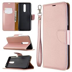 Classic Luxury Litchi Leather Phone Wallet Case for Samsung Galaxy A01 - Golden