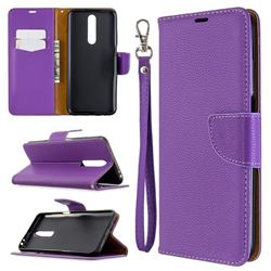 Classic Luxury Litchi Leather Phone Wallet Case for Samsung Galaxy A01 - Purple