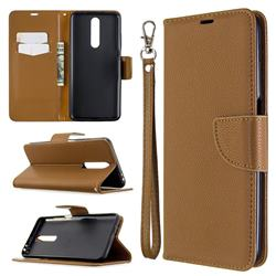 Classic Luxury Litchi Leather Phone Wallet Case for Samsung Galaxy A01 - Brown