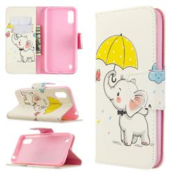 Umbrella Elephant Leather Wallet Case for Samsung Galaxy A01