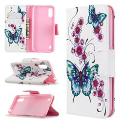 Peach Butterflies Leather Wallet Case for Samsung Galaxy A01