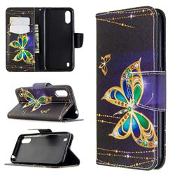 Golden Shining Butterfly Leather Wallet Case for Samsung Galaxy A01