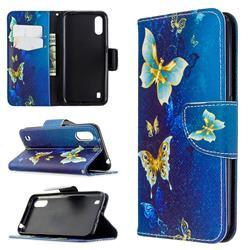 Golden Butterflies Leather Wallet Case for Samsung Galaxy A01