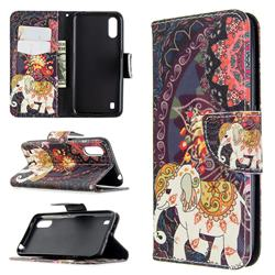 Totem Flower Elephant Leather Wallet Case for Samsung Galaxy A01
