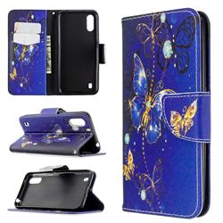 Purple Butterfly Leather Wallet Case for Samsung Galaxy A01
