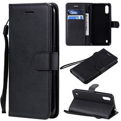 Retro Greek Classic Smooth PU Leather Wallet Phone Case for Samsung Galaxy A01 - Black