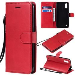 Retro Greek Classic Smooth PU Leather Wallet Phone Case for Samsung Galaxy A01 - Red