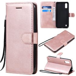 Retro Greek Classic Smooth PU Leather Wallet Phone Case for Samsung Galaxy A01 - Rose Gold