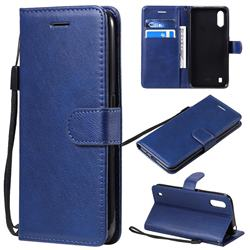 Retro Greek Classic Smooth PU Leather Wallet Phone Case for Samsung Galaxy A01 - Blue