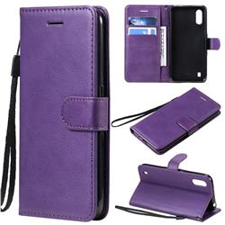 Retro Greek Classic Smooth PU Leather Wallet Phone Case for Samsung Galaxy A01 - Purple