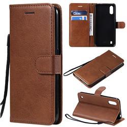 Retro Greek Classic Smooth PU Leather Wallet Phone Case for Samsung Galaxy A01 - Brown