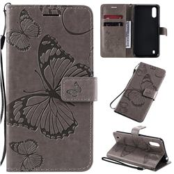 Embossing 3D Butterfly Leather Wallet Case for Samsung Galaxy A01 - Gray