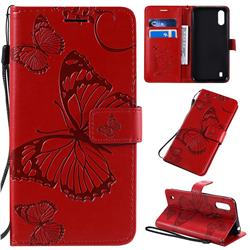 Embossing 3D Butterfly Leather Wallet Case for Samsung Galaxy A01 - Red