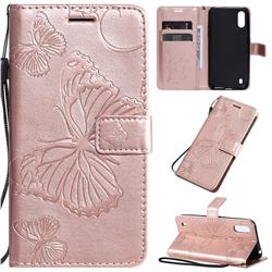 Embossing 3D Butterfly Leather Wallet Case for Samsung Galaxy A01 - Rose Gold