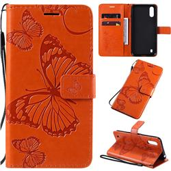 Embossing 3D Butterfly Leather Wallet Case for Samsung Galaxy A01 - Orange