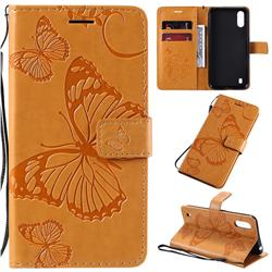 Embossing 3D Butterfly Leather Wallet Case for Samsung Galaxy A01 - Yellow