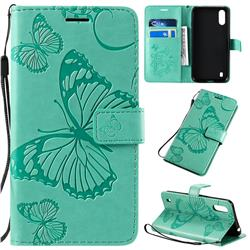Embossing 3D Butterfly Leather Wallet Case for Samsung Galaxy A01 - Green