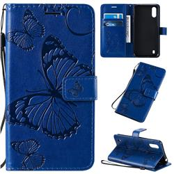 Embossing 3D Butterfly Leather Wallet Case for Samsung Galaxy A01 - Blue