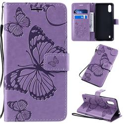 Embossing 3D Butterfly Leather Wallet Case for Samsung Galaxy A01 - Purple