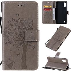 Embossing Butterfly Tree Leather Wallet Case for Samsung Galaxy A01 - Grey