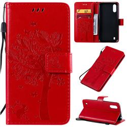 Embossing Butterfly Tree Leather Wallet Case for Samsung Galaxy A01 - Red
