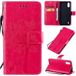 Embossing Butterfly Tree Leather Wallet Case for Samsung Galaxy A01 - Rose