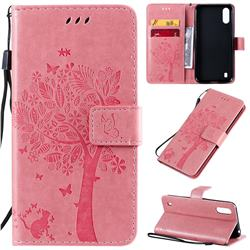 Embossing Butterfly Tree Leather Wallet Case for Samsung Galaxy A01 - Pink