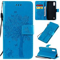 Embossing Butterfly Tree Leather Wallet Case for Samsung Galaxy A01 - Blue