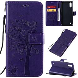 Embossing Butterfly Tree Leather Wallet Case for Samsung Galaxy A01 - Purple