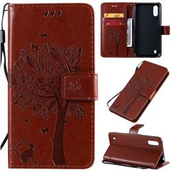 Embossing Butterfly Tree Leather Wallet Case for Samsung Galaxy A01 - Coffee