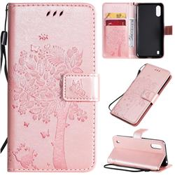 Embossing Butterfly Tree Leather Wallet Case for Samsung Galaxy A01 - Rose Pink