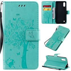 Embossing Butterfly Tree Leather Wallet Case for Samsung Galaxy A01 - Cyan