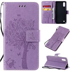 Embossing Butterfly Tree Leather Wallet Case for Samsung Galaxy A01 - Violet