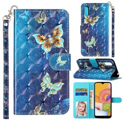 Rankine Butterfly 3D Leather Phone Holster Wallet Case for Samsung Galaxy A01