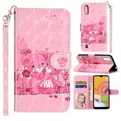 Pink Bear 3D Leather Phone Holster Wallet Case for Samsung Galaxy A01