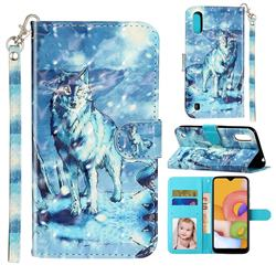 Snow Wolf 3D Leather Phone Holster Wallet Case for Samsung Galaxy A01