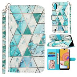 Stitching Marble 3D Leather Phone Holster Wallet Case for Samsung Galaxy A01