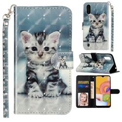 Kitten Cat 3D Leather Phone Holster Wallet Case for Samsung Galaxy A01