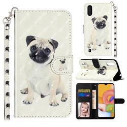 Pug Dog 3D Leather Phone Holster Wallet Case for Samsung Galaxy A01