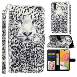 White Leopard 3D Leather Phone Holster Wallet Case for Samsung Galaxy A01