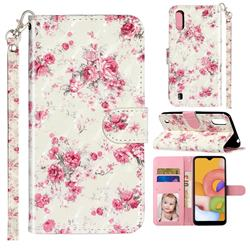 Rambler Rose Flower 3D Leather Phone Holster Wallet Case for Samsung Galaxy A01