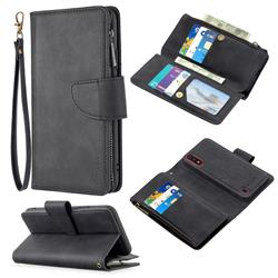 Binfen Color BF02 Sensory Buckle Zipper Multifunction Leather Phone Wallet for Samsung Galaxy A01 - Black