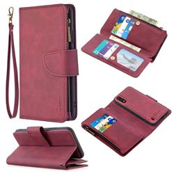 Binfen Color BF02 Sensory Buckle Zipper Multifunction Leather Phone Wallet for Samsung Galaxy A01 - Red Wine