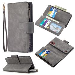 Binfen Color BF02 Sensory Buckle Zipper Multifunction Leather Phone Wallet for Samsung Galaxy A01 - Gray