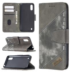 BinfenColor BF04 Color Block Stitching Crocodile Leather Case Cover for Samsung Galaxy A01 - Gray