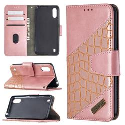 BinfenColor BF04 Color Block Stitching Crocodile Leather Case Cover for Samsung Galaxy A01 - Rose Gold