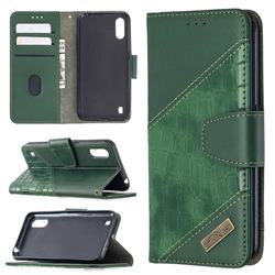 BinfenColor BF04 Color Block Stitching Crocodile Leather Case Cover for Samsung Galaxy A01 - Green