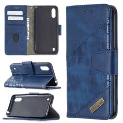 BinfenColor BF04 Color Block Stitching Crocodile Leather Case Cover for Samsung Galaxy A01 - Blue