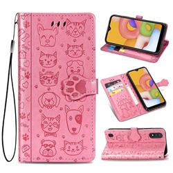 Embossing Dog Paw Kitten and Puppy Leather Wallet Case for Samsung Galaxy A01 - Pink